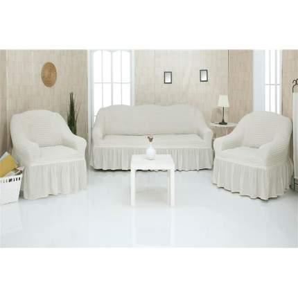 Комплект чехлов на трехместный диван и два кресла с оборкой CONCORDIA, слоновая кость