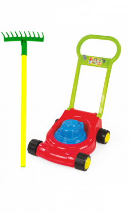 Игровой набор: Детская газонокосилка (15-10631)+ Грабли детские садовые (15-10932)