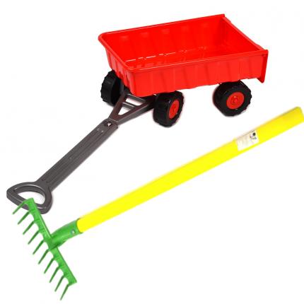 Игровой набор: Тележка (15-11330)+ Грабли детские садовые (15-10932)