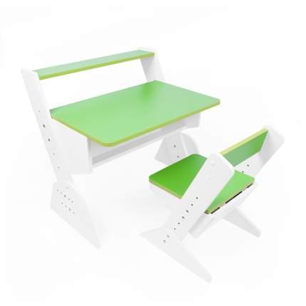 Детская растущая парта и стул Я САМ Так Так, цвет Зеленый (Зеленая кромка)