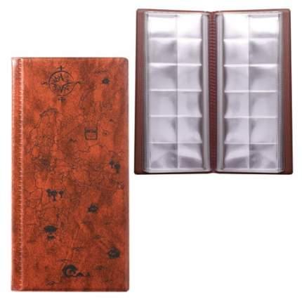 Альбом для монет/купюр 105х223мм 72монеты до 30мм выдвижн карманы коричневый ДПС 2858-104