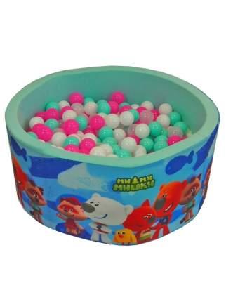 Сухой игровой бассейн МиМиМишки синие рыбы Мятный 40 см, шары 200 шт