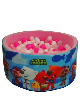 Сухой игровой бассейн МиМиМишки синие рыбы Розовый 40 см, шары 200 шт