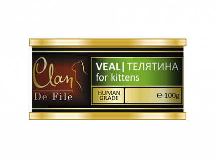 Консервы для котят Clan De File, монобелковые, с телятиной, 16шт по 100г