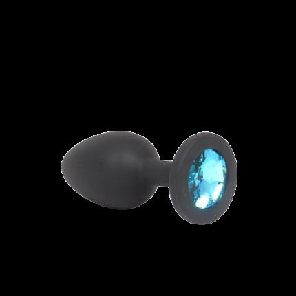 Силиконовая анальная пробка NLonely  c голубым камнем  S черная