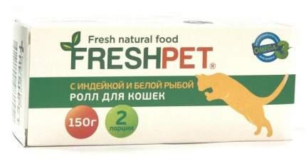 Влажный корм для кошек FreshPet Ролл, с индейкой и белой рыбой, 150г