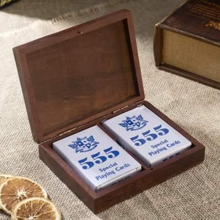 Набор игр Sima-Land Колоды карт дерево, 15х11,5х4 см