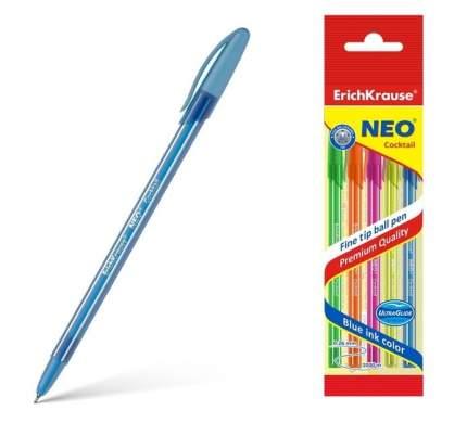Ручка шариковая ErichKrause® Neo® Cocktail, синий в пакете 4 шт