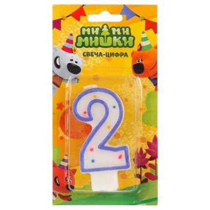 Свеча для торта Играем Вместе Ми-ми-мишки Цифра 2