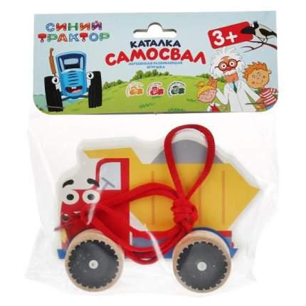 Деревянная развивающая игрушка-каталка Буратино Синий трактор Самосвал 12 см