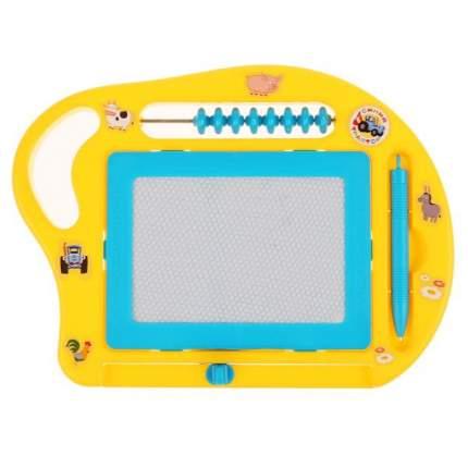 Магнитная доска для рисования Играем вместе Синий Трактор со счетами, 24x18 см