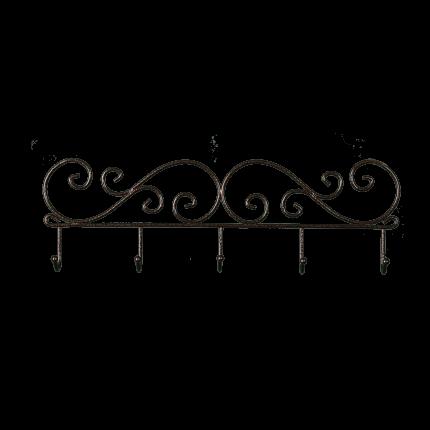 Вешалка ЗМИ Кружева 40 см, с 5-ю крючками, настенная, цвет медный антик