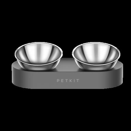 Миска для кошек и собак Petkit Fresh Nano Double, из пищевой стали, серо-черная, 2 х 275мл