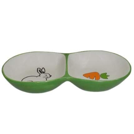 Миска для грызунов FOXIE Rabbit двойная зеленая керамическая 16х8х3см 2х50мл