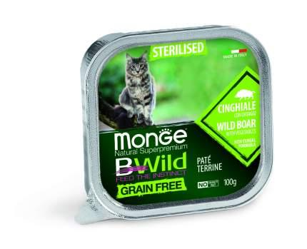 Консервы Monge Cat Bwild Grain free Кабан с овощами для стерилизованных кошек 100г