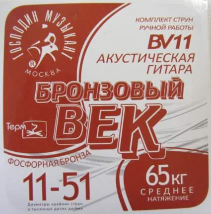 Струны для акустической гитары Господин музыкант Бронзовый век Bek-11 (bv11)