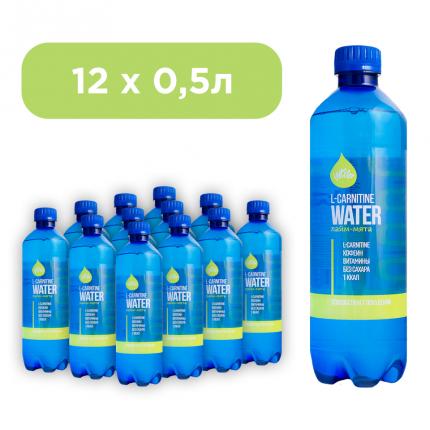 """Напиток  безалкогольный тонизирующий   """"L-carnitine water"""" Лайм-мята, 12 шт. по 0,5 л."""