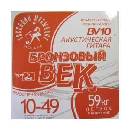 Струны для акустической гитары Господин Музыкант Бронзовый век Bek-10 bv10