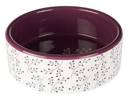 Миска для животных TRIXIE Ceramic Bowl M, керамическая, бело-ягодный, 16см, 800мл