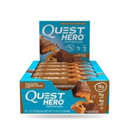 Quest Nutrition Батончики Quest Hero Bar 60 г, 10 шт, вкус: пекан в шоколадной карамели