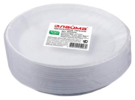 Одноразовые тарелки Лайма плоские бюджет белые пластик 220 мм 100 шт