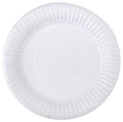 Тарелка одноразовая комус бумажная белая 200 мм 100 штук в упаковке