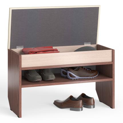 Обувница Мебельный Двор ТО-10 80х37х45 см, ясень шимо светлый/тёмный