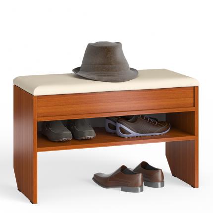 Обувница с нишей и мягким сиденьем Мебельный Двор ТО-10 вишня, 80х37х45 см