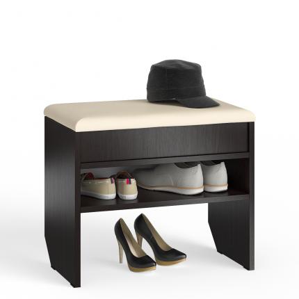 Тумба для обуви с нишей и мягким сиденьем Мебельный Двор ТО-09 венге, 60х37х45 см