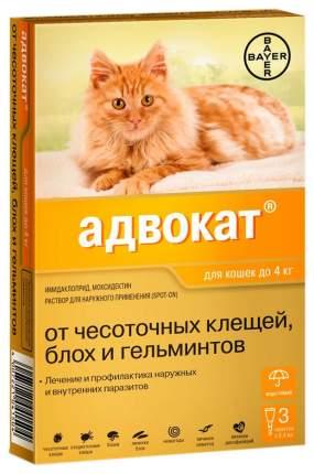 Капли для собак против блох, глистов, клещей Bayer Адвокат, от 4 кг, 3 пипетки, 0,4 мл