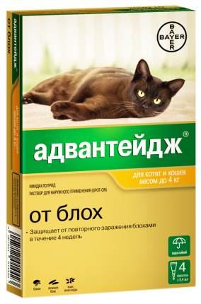 Капли для кошек против блох, власоедов, вшей Bayer Адвантейдж, до 4 кг, 4 пипетки, 0,4 мл