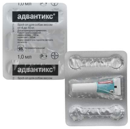 Капли для собак против паразитов Bayer Адвантикс, 4-10 кг, 4 пипетки, 1 мл