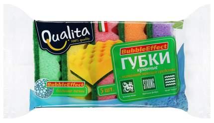 Губки Qualita Bubble effect для посуды 5 шт