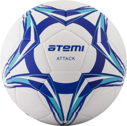 Мяч футбольный Atemi ATTACK PU, бел/син/гол., р.5, Thermo mould (б/швов), окруж 68-71