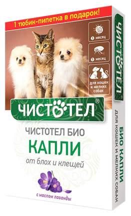 Капли для кошек и мелких собак против паразитов Чистотел Био с лавандой, 2 пипетки, 1 мл