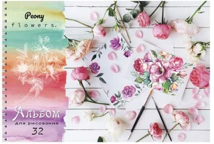 """Альбом для рисования на гребне """"Цветы и кисти"""", А4, 32 листа"""