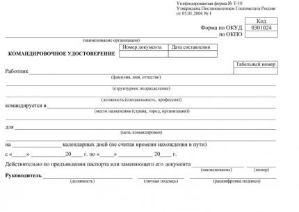Командировочное удостоверение (форма № Т-10): упаковка 100 шт.