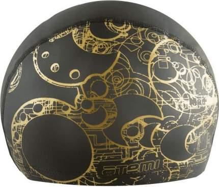 Шапочка для плавания Atemi PU303GD золотистый принт/черная