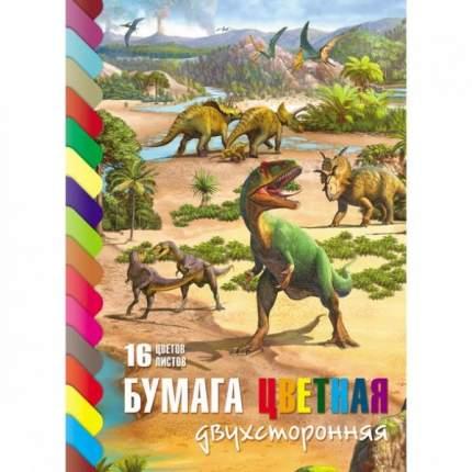 """Бумага цветная """"ECO. Эра динозавров"""", А4, 16 листов, 16 цветов"""