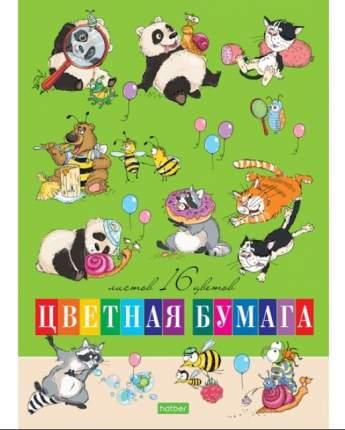 """Бумага цветная """"Забавные животные"""", А4, 16 листов, 16 цветов"""