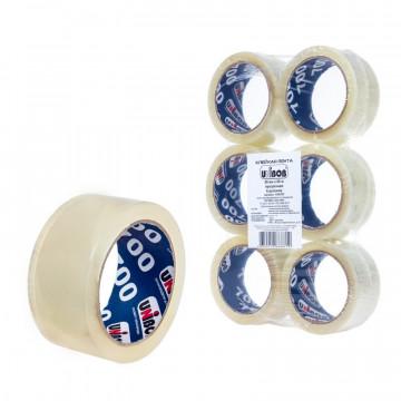 """Клейкая лента упаковочная """"Unibob 700"""", 50 мм х 66 м, 47 мкм (прозрачная), 6 штук"""