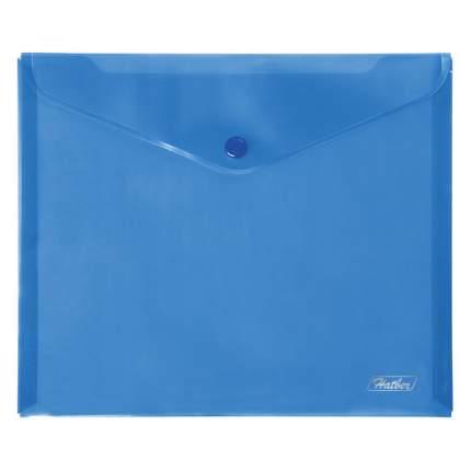 Папка-конверт на кнопке, А5, 180 мкм, синяя
