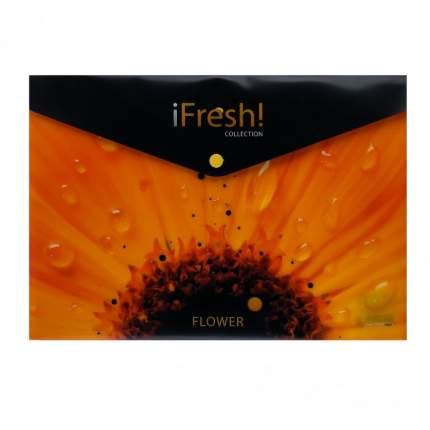 """Папка-конверт с кнопкой """"IFRESH-цветок"""", А4, 150 мкм"""