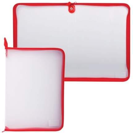 Папка на молнии, пластиковая А4, цвет прозрачный, красный, 320x230 мм