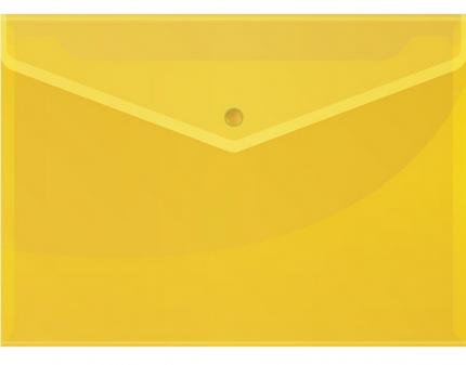 Папка-конверт на кнопке, А4, 120 мкм, желтая