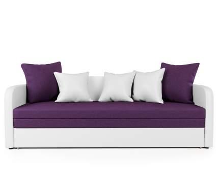Софа Трио экокожа белая и фиолетовая рогожка