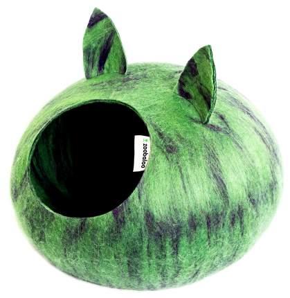 Домик для кошек и собак Zoobaloo WoolPetHouse с ушками L мультиколор салатовый, 40x40x20см