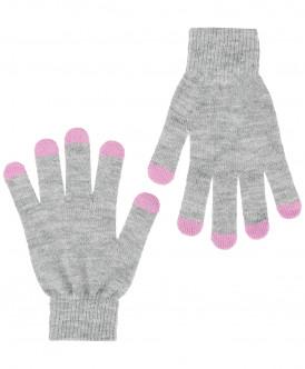 Перчатки для девочек Button Blue, цв. серый, р.16