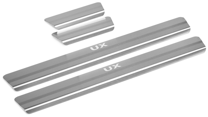Накладки на пороги RIVAL для Lexus UX 2018-, нержавеющая сталь, с надписью 4 шт. NP.3201.3