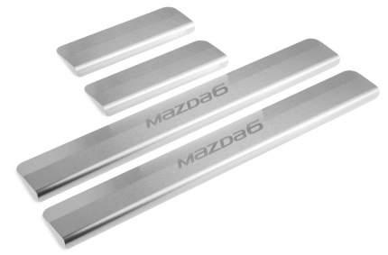 Накладки на пороги RIVAL для Mazda 6 GJ 2012- нержавеющая сталь с надписью 4 шт. NP.3802.3